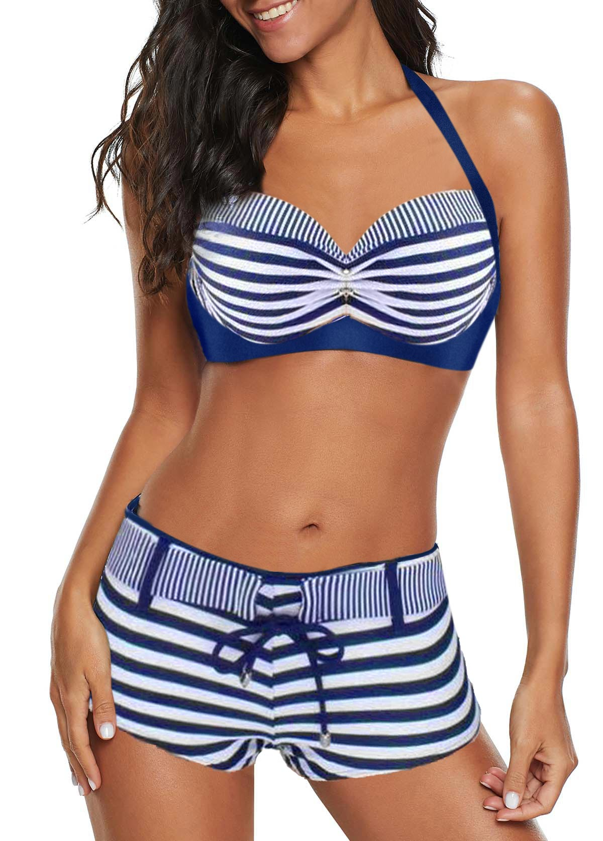 Halter Neck Striped Drawstring Waist Bikini Set