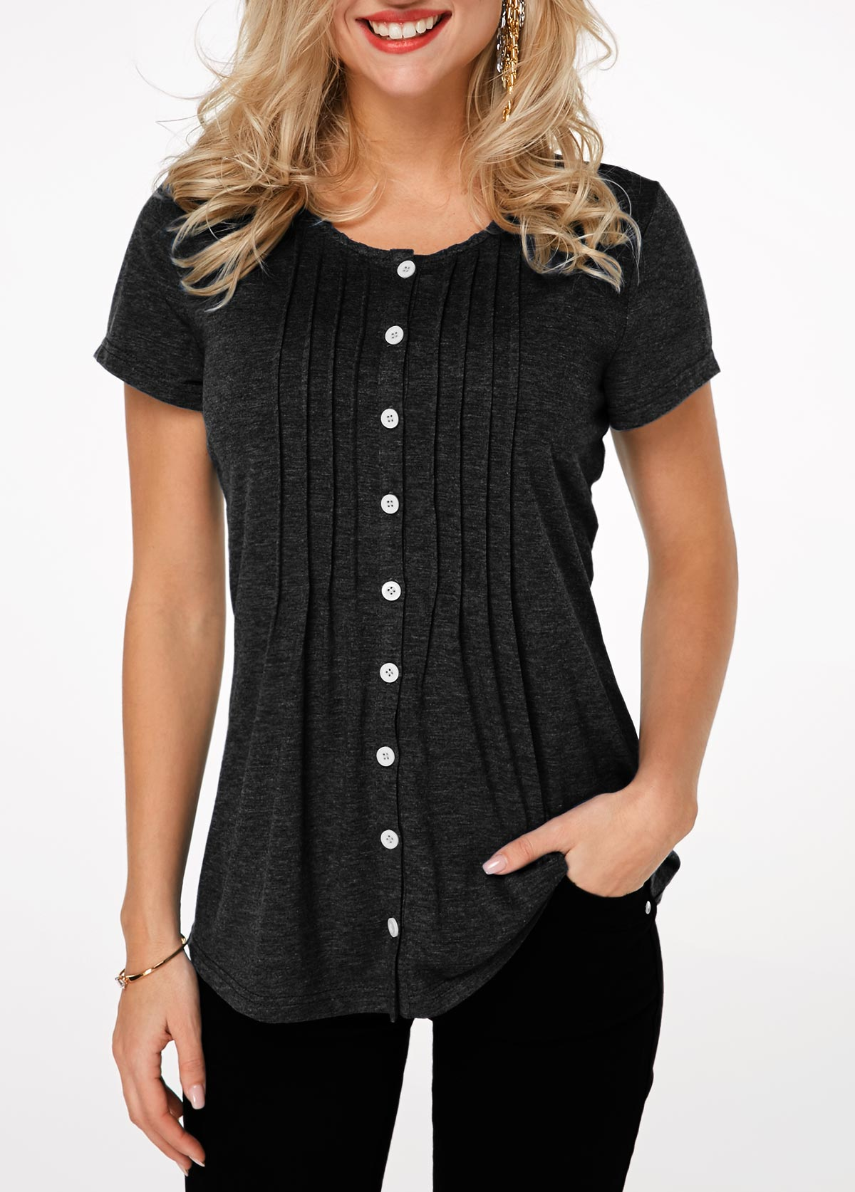 Pleated Short Sleeve Button Up T Shirt