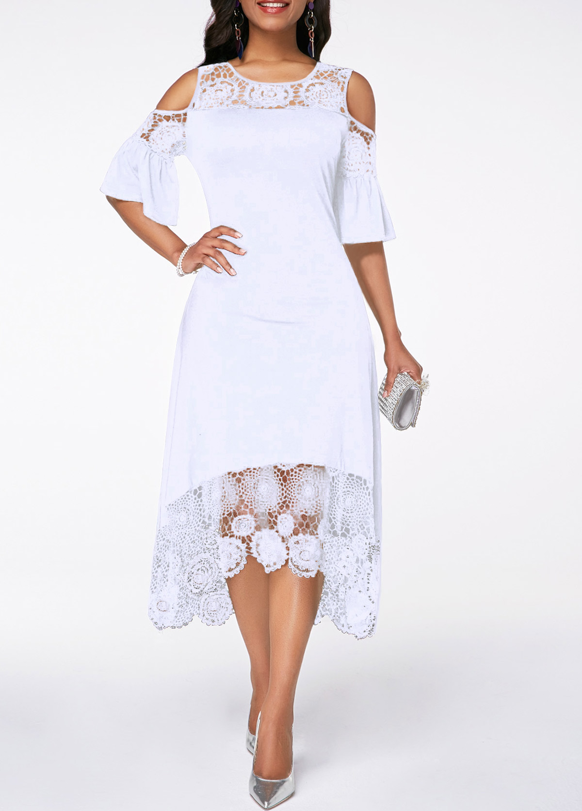 e2eeecfc028 Flare Cuff Lace Panel Cold Shoulder White Dress