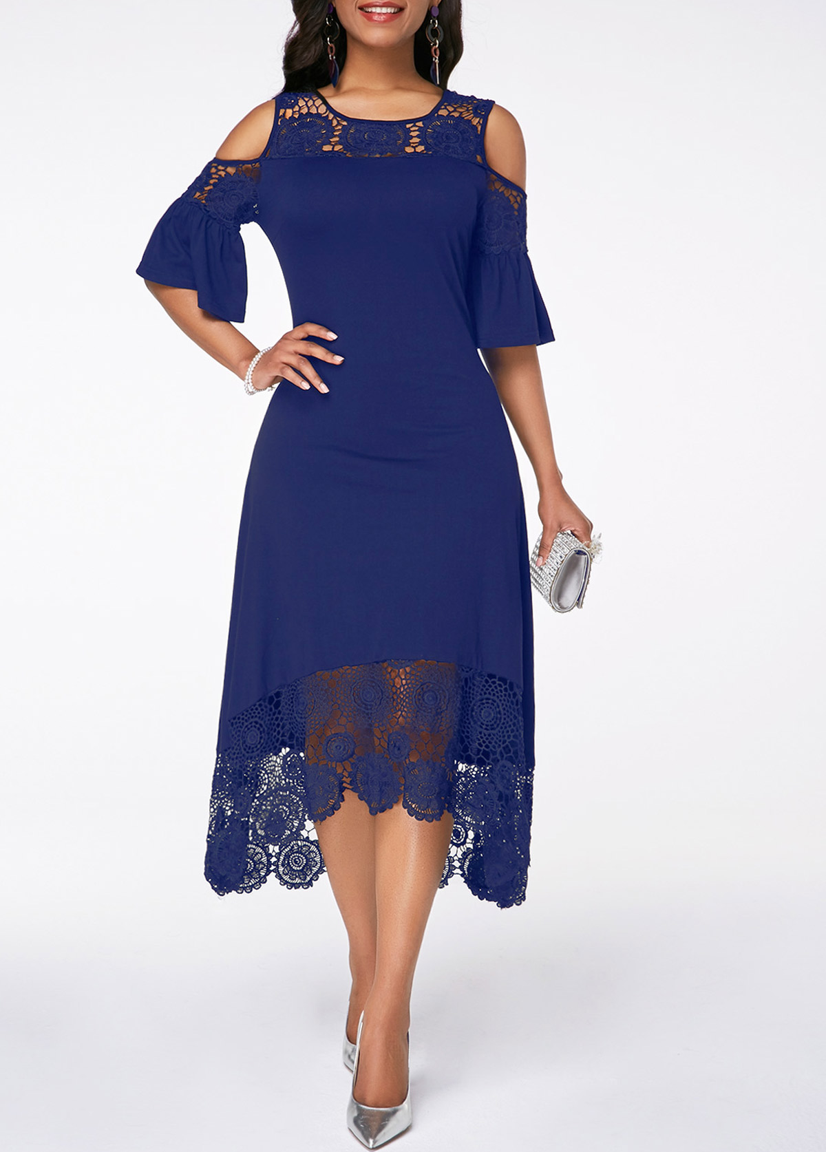 Flare Cuff Lace Panel Navy Blue Cold Shoulder Dress
