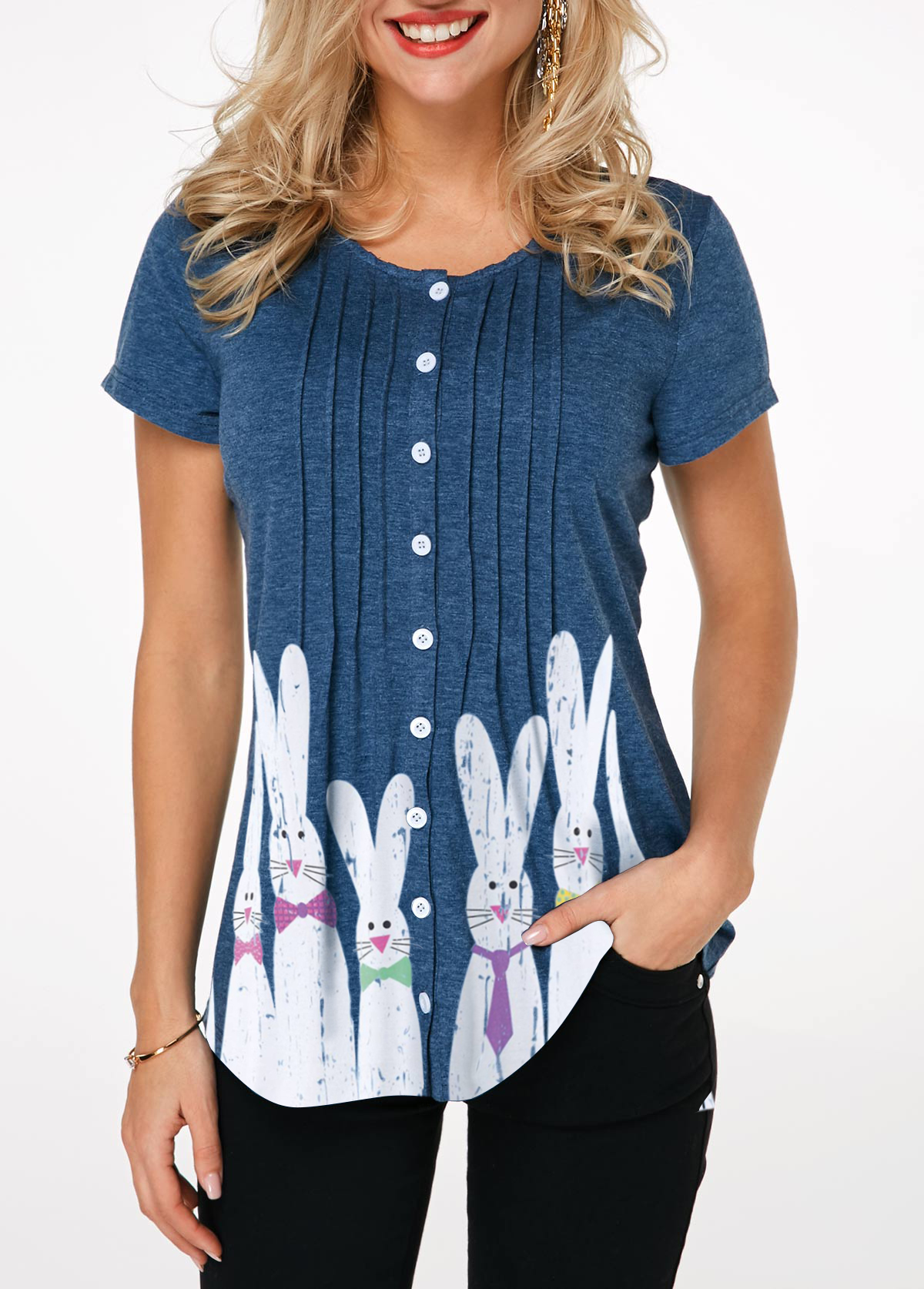 Button Front Rabbit Print Crinkle Chest Easter T Shirt