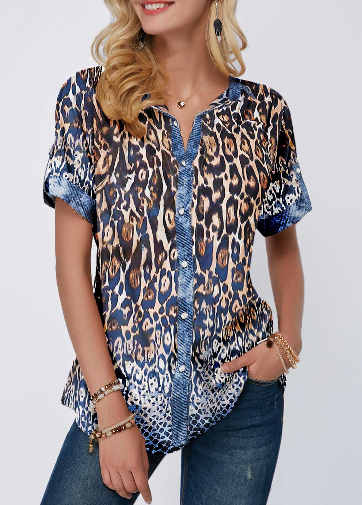Button Front Leopard Print Turndown Collar Blouse