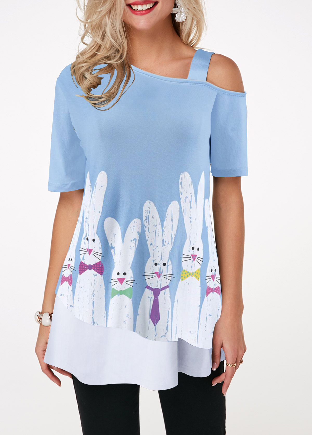 Cold Shoulder Easter Rabbit Print T Shirt