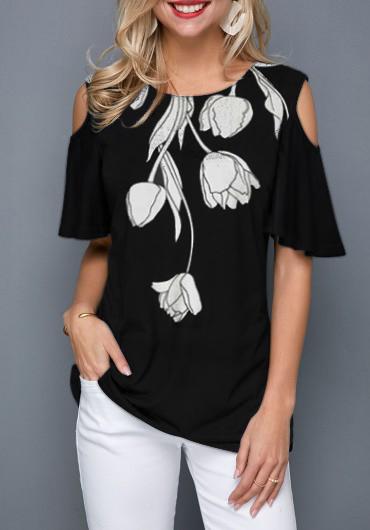 Black Cold Shoulder Flower Print T Shirt