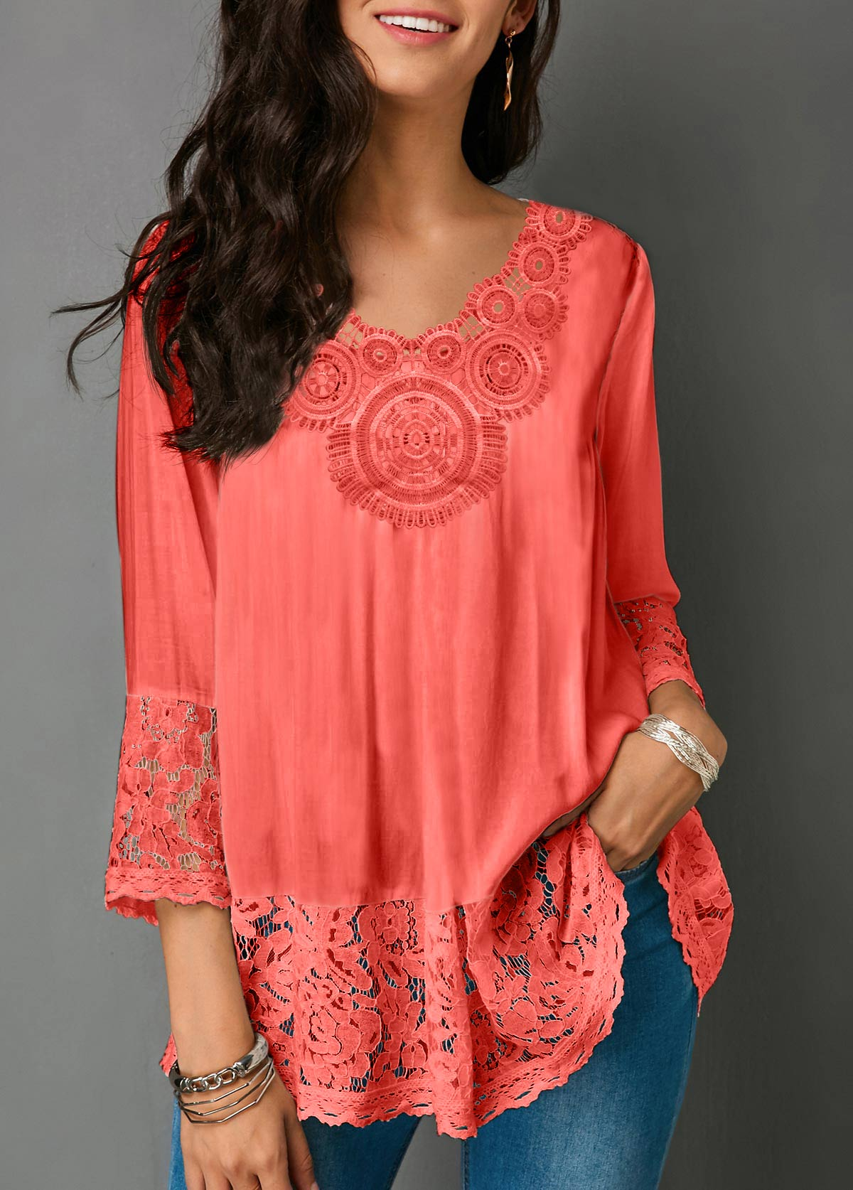 Lace Panel Three Quarter Sleeve V Neck Blouse