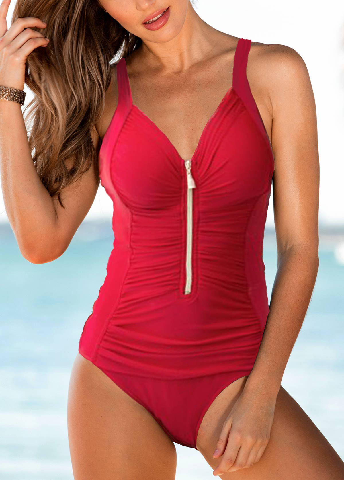Ruched Zipper Front Strappy One Piece Swimwear