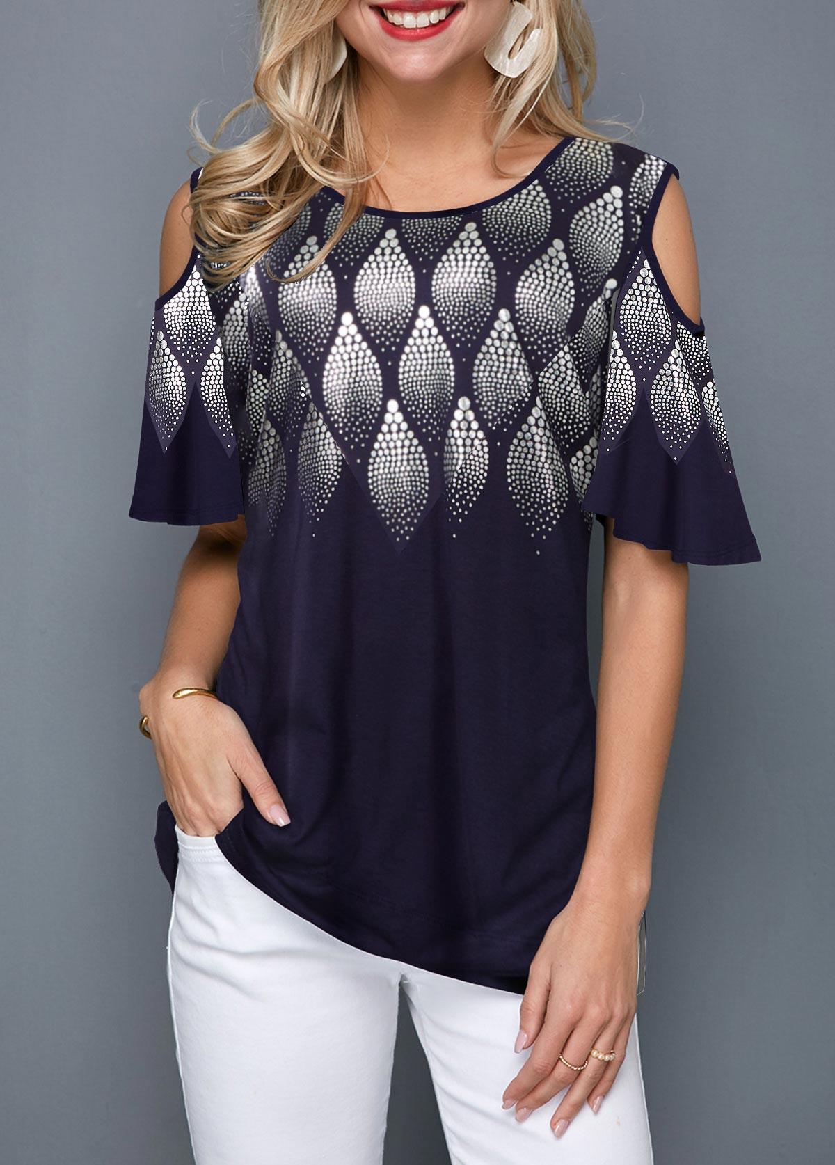 Round Neck Printed Cold Shoulder T Shirt