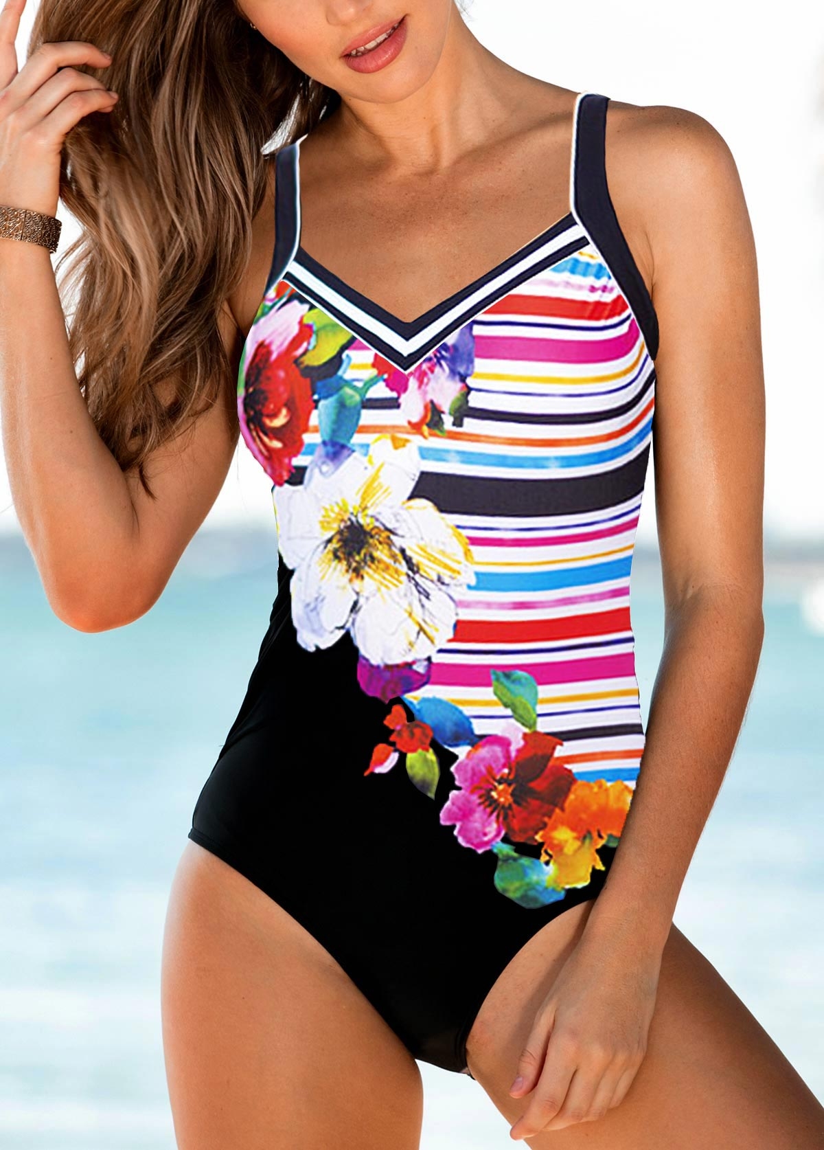 Padded Flower Print Strappy One Piece Swimwear