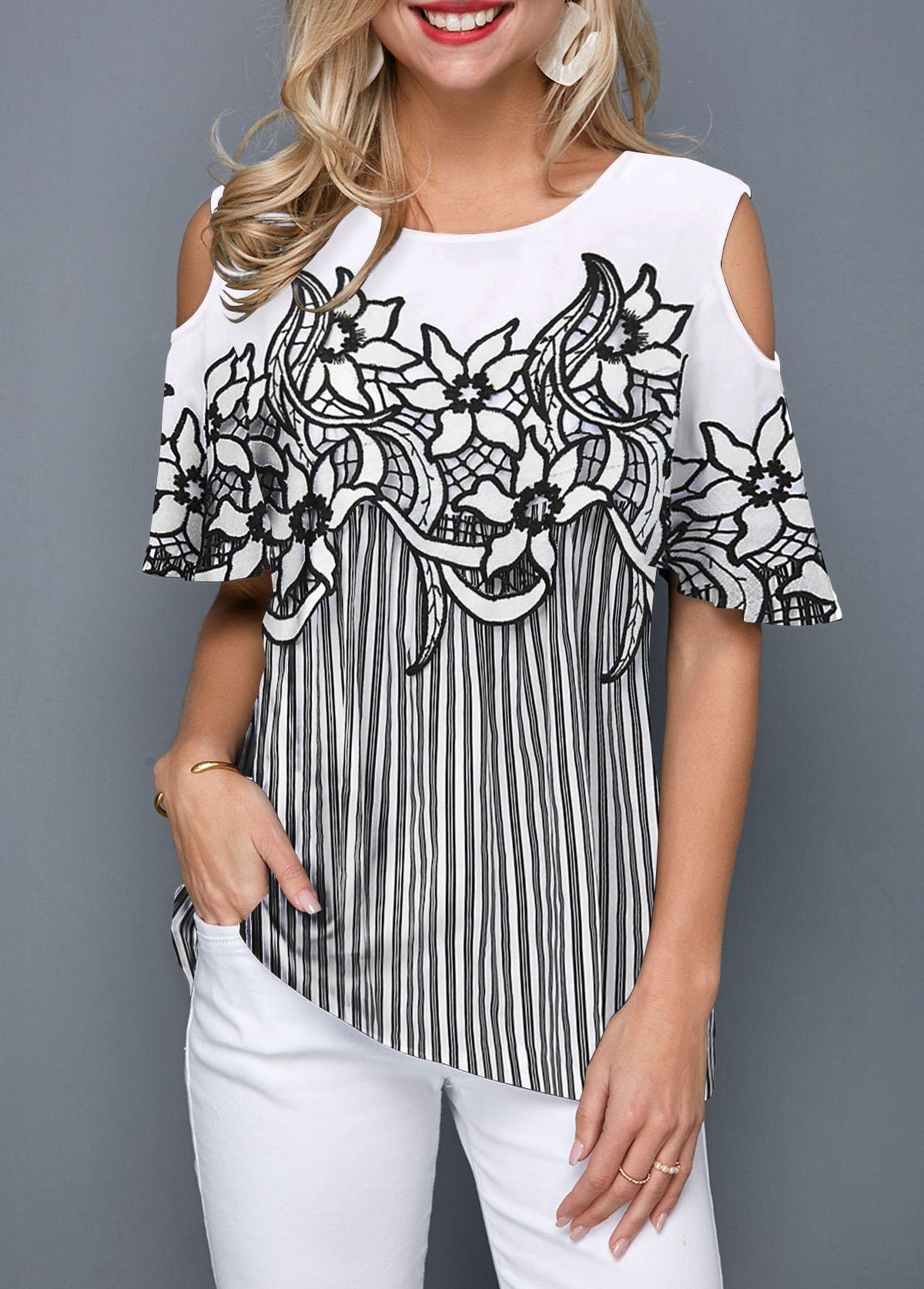 Cold Shoulder Striped Flower Print Blouse