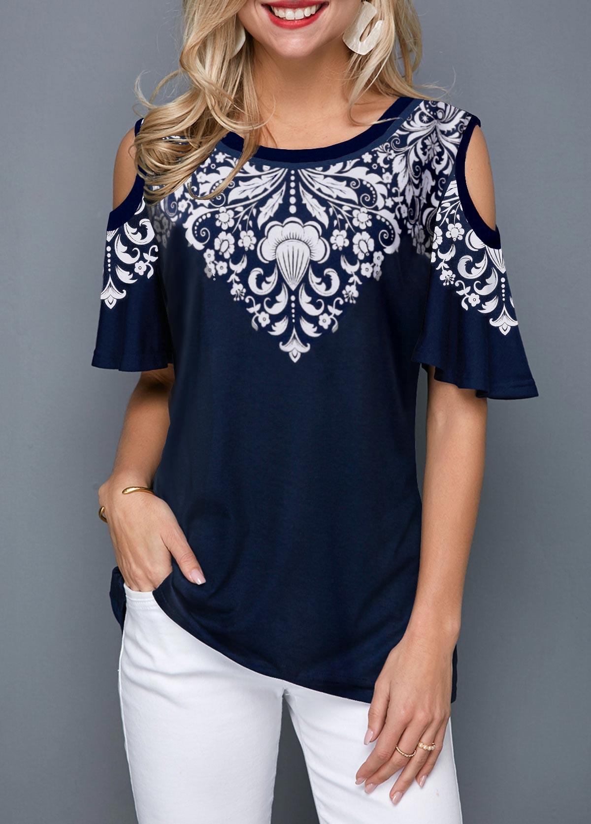 Cold Shoulder Half Sleeve Tribal Print T Shirt