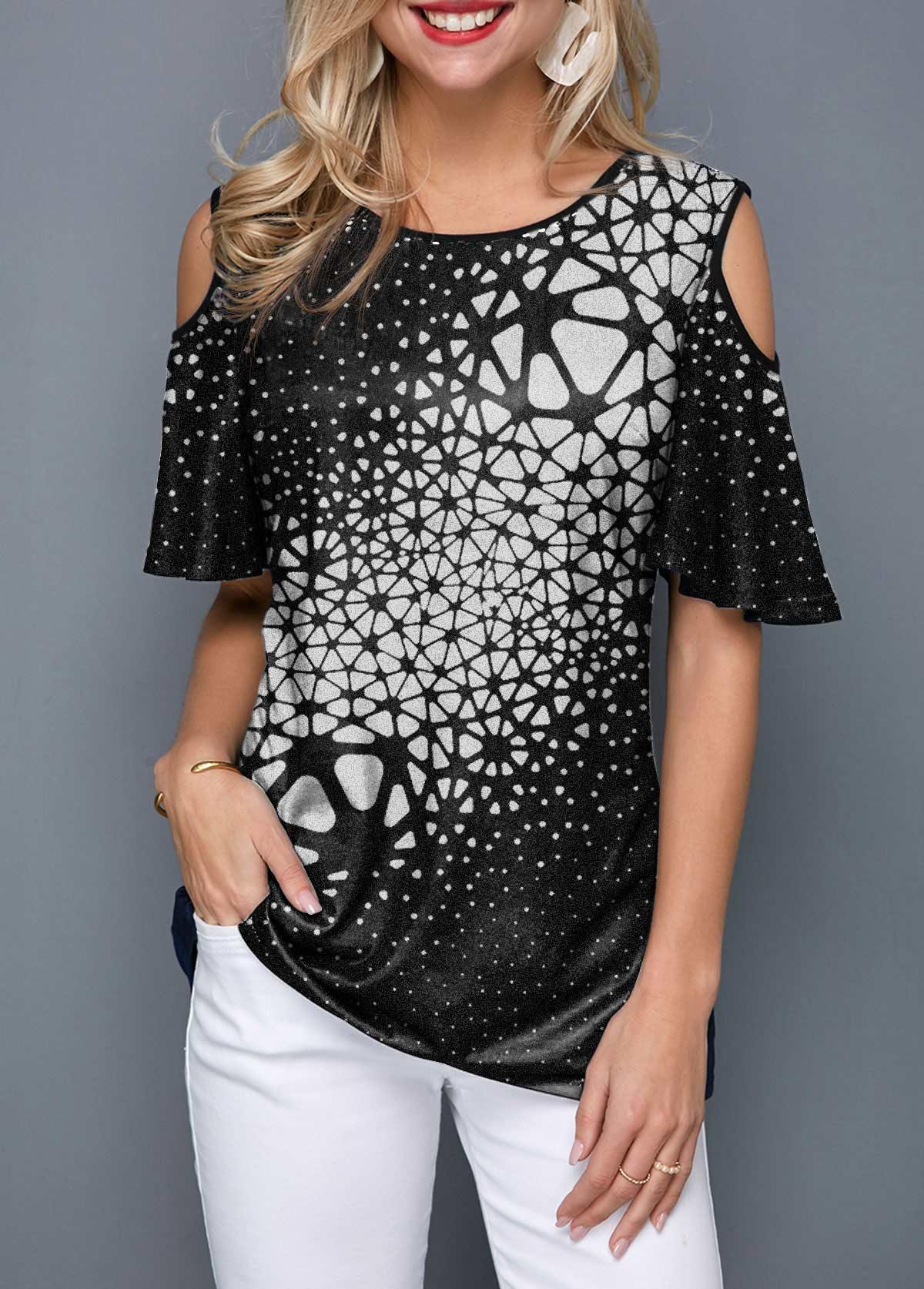 Round Neck Cold Shoulder Geometric Print T Shirt