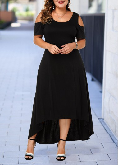 Women'S Black Cold Shoulder Plus Size Casual Dress Solid Color High Low Short Sleeve Maxi Dress By Rosewe - 0X