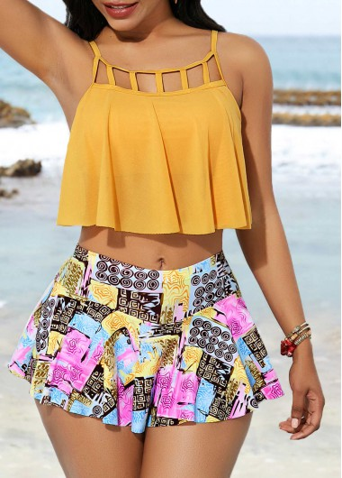 8a60fbcb98dbc Lattice Front Yellow Tankini Top and Printed Pantskirt | Rosewe.com ...