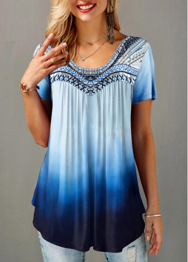 Women'S Blue Ombre Dip Dye Crew Neck Short Sleeve Tunic T Shirt Gradient Round Neck Casual Top By Rosewe - L