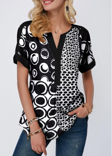 Rosewe Women Blouse Black Printed Short Sleeve Tunic - M