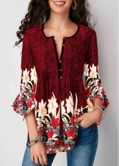 Rosewe Women Spring Blouse Red Floral Printed Split Neck Tunic - M