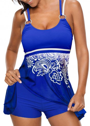 Rosewe Women Blue Strappy Printed Swimdress Tankini Swimsuit Padded Strappy Back Printed Blue Tankini Set - L