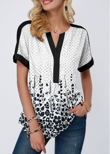 Rosewe Women Blouse White Floral Dot Printed Short Sleeve Tunic - L