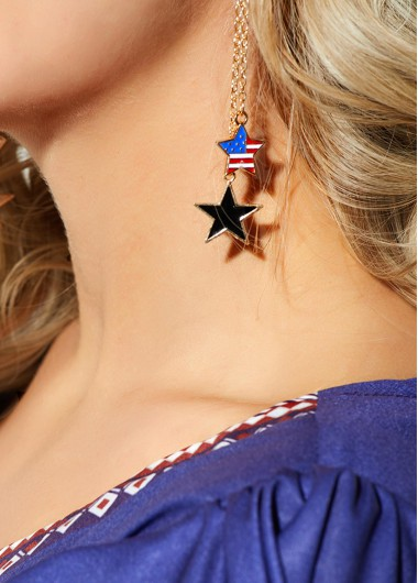 Mother's Day Gifts Star Shape Gold Metal Chain Earring - One Size