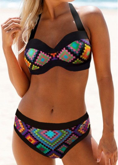 Rosewe Women Printed Bikini Swimsuit Geometric Print Cutout Back Bikini Set - L