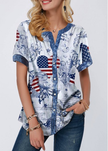 4Th Of July Women'S Multi Color American Flag Printed Short Sleeve Patrioic T Shirt Notch Neck Short Sleeve Tunic Casual Top By Rosewe - L
