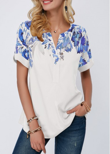 Rosewe Women Blouse White Printed Tunic Split Neck - L
