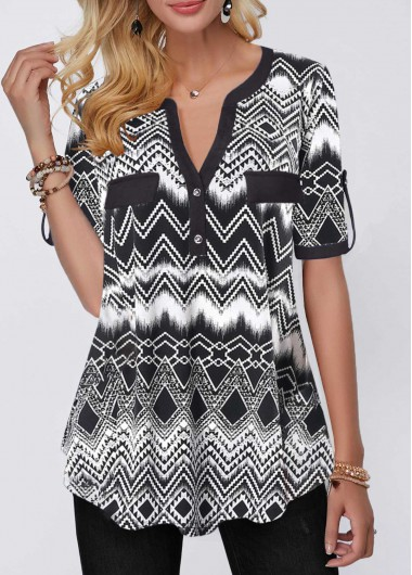 Rosewe Women Blouse Black Shirt Sleeve Geometric Printed Tunic - XL