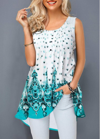 Women'S White Sleeveless Tunic Summer Tank Top Crinkle Chest Round Neck Printed Casual Longline T Shirt By Rosewe - L