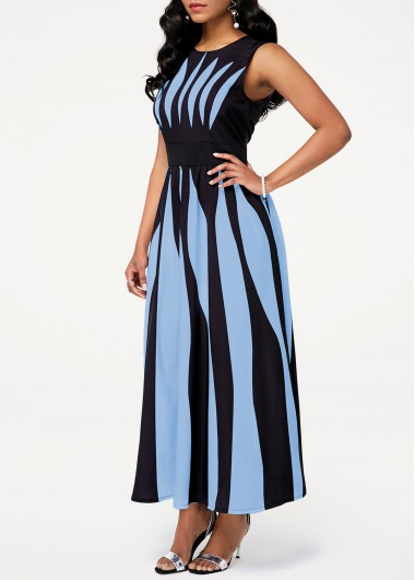 Rosewe Women Dress Blue Striped Sleeveless Pocket Midi Casual - L