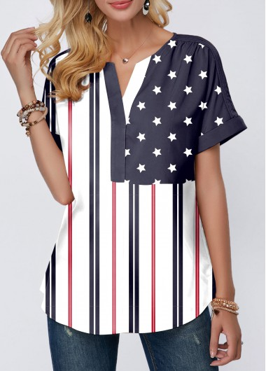 4Th Of July Women'S Navy Blue Split Neck Short Sleeve Patriotic Blouse American Flag Printed Curved Hem Tunic Casual Top By Rosewe - L