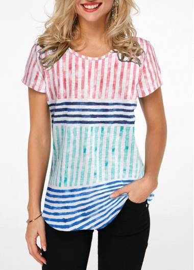 4Th Of July Rosewe Women Patriotic T Shirt Striped Short Sleeve Tunic - L