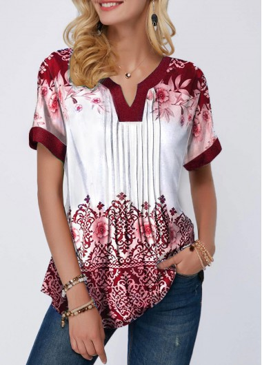 Women'S Red Floral Printed Split Neck Crinkle Detail Tunic Blouse Short Sleeve Casual Spring Top By Rosewe - M