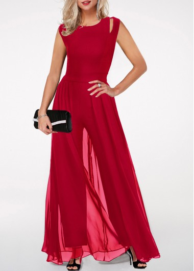 Women'S Wine Red Cocktail Party Jumpsuit Burgundy Sleeveless Chiffon Flowy Wide Leg Overlay Formal Jumpsuit  By Rosewe - L