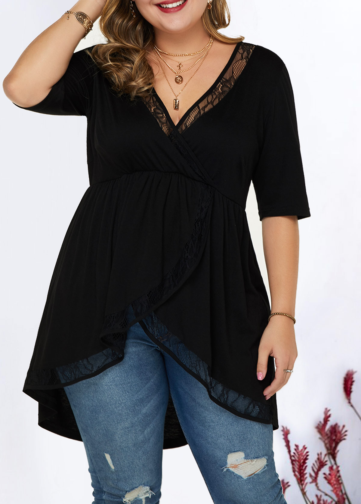 Lace Panel Plus Size Asymmetric Hem Blouse