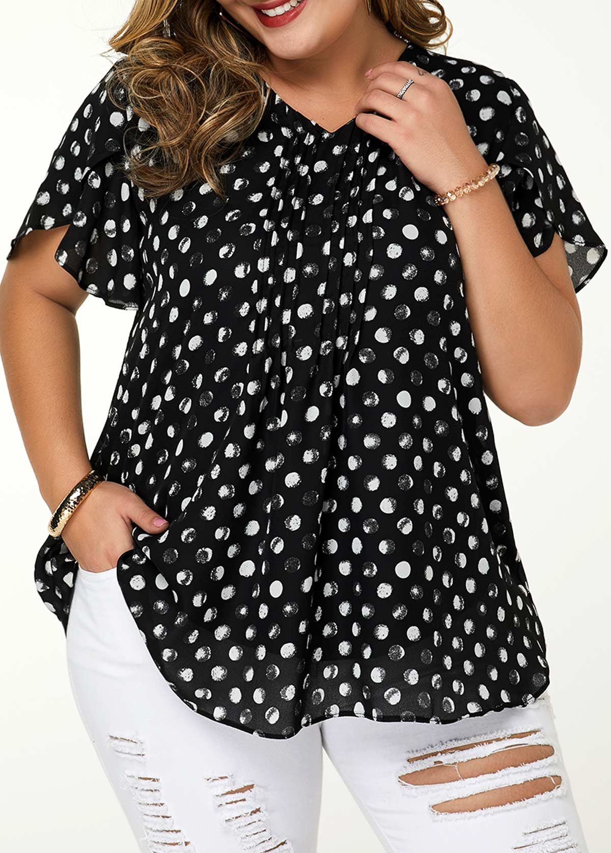 Plus Size V Neck Dot Print Blouse