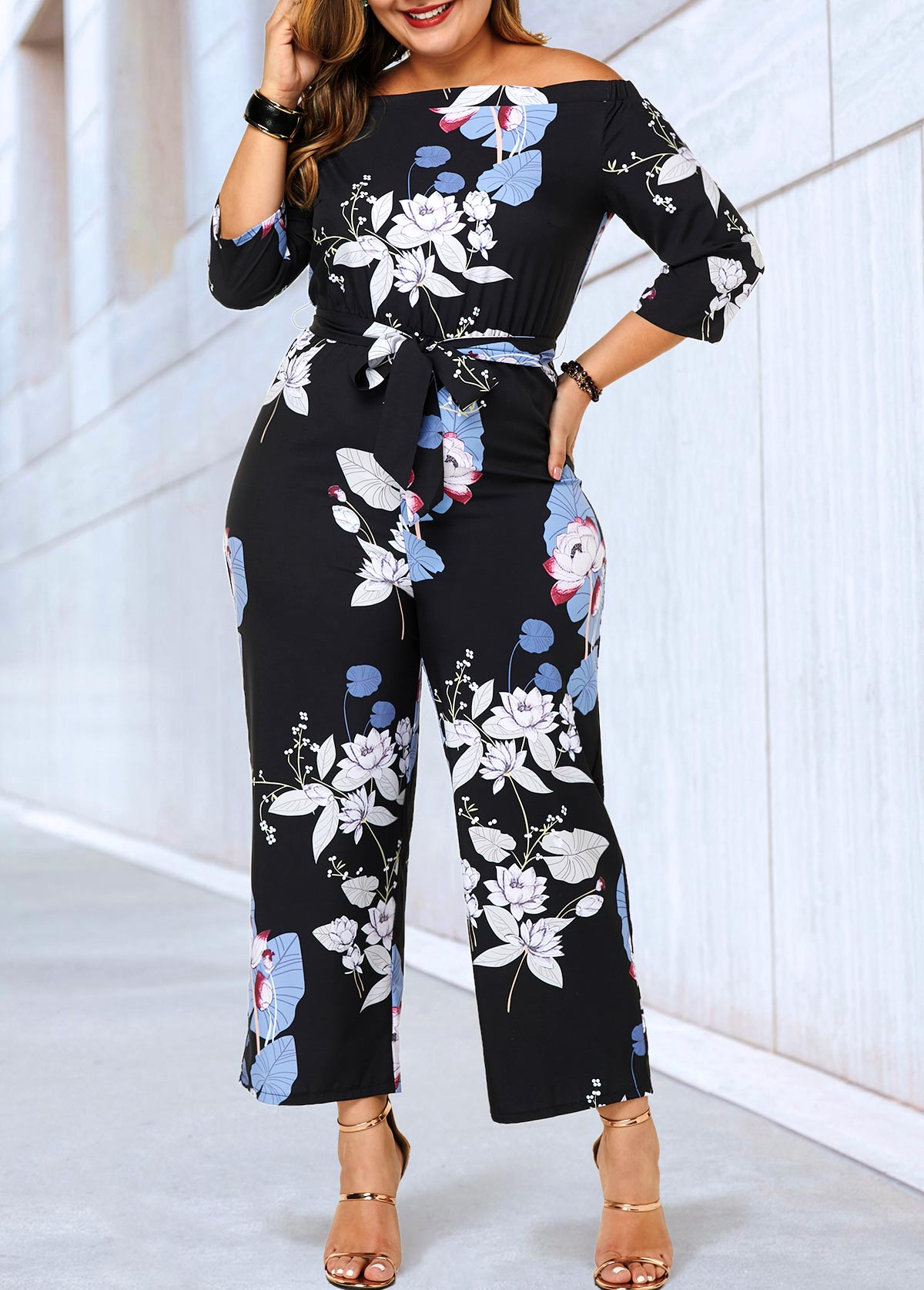 Plus Size Belted Three Quarter Sleeve Jumpsuit