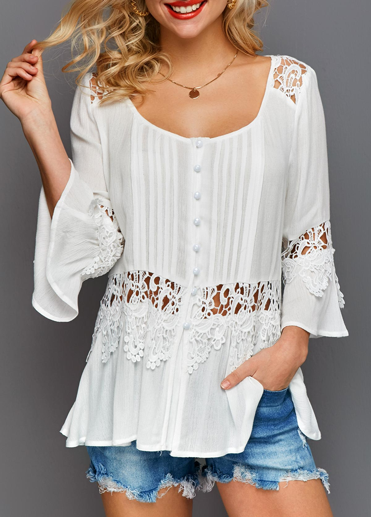 Scoop Neck Flare Cuff Crochet Detail White Blouse