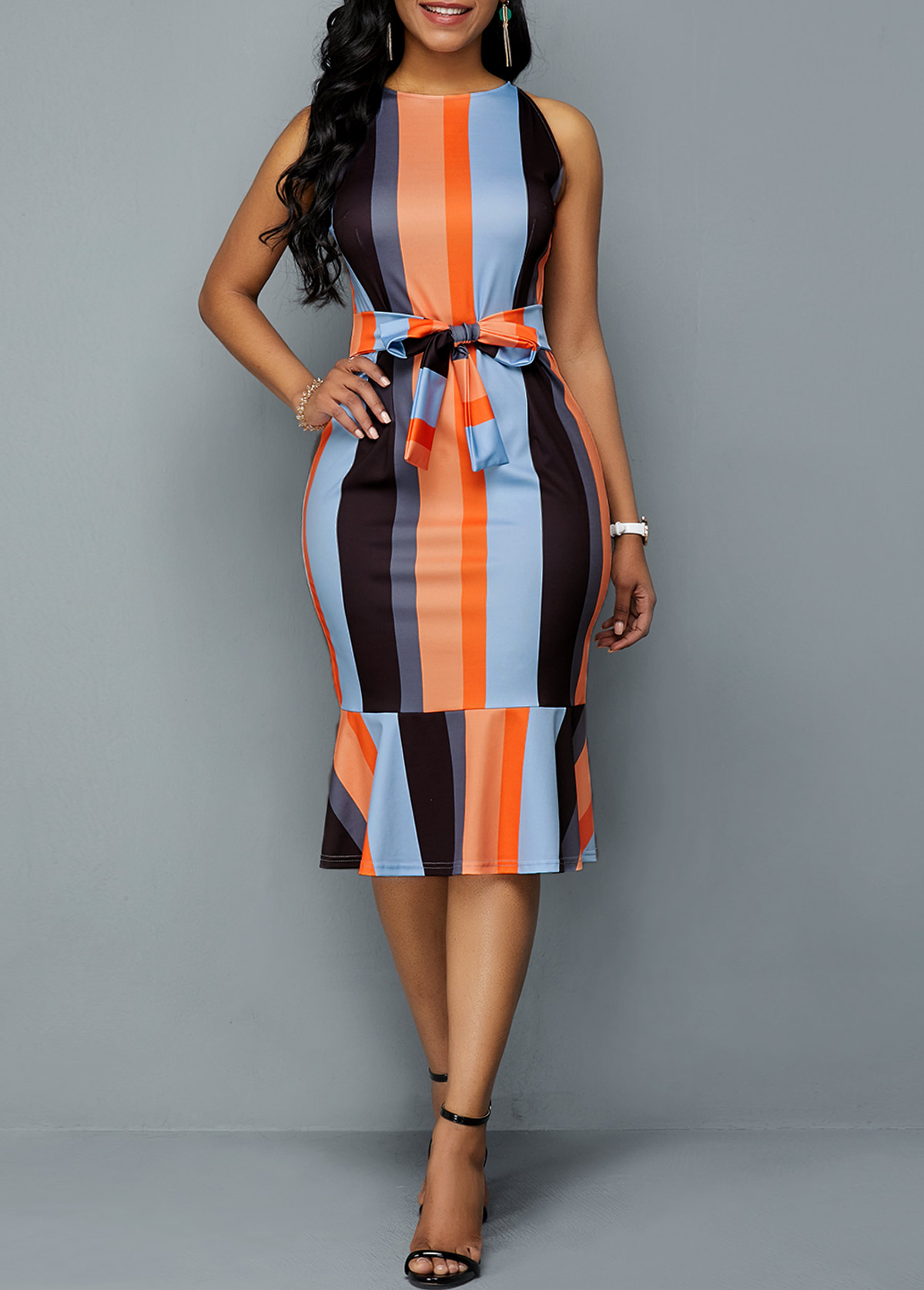 Ruffle Hem Tie Front Color Block Sheath Dress