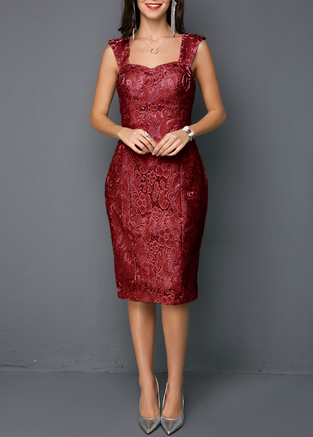 Open Front Top and Sleeveless Sheath Dress