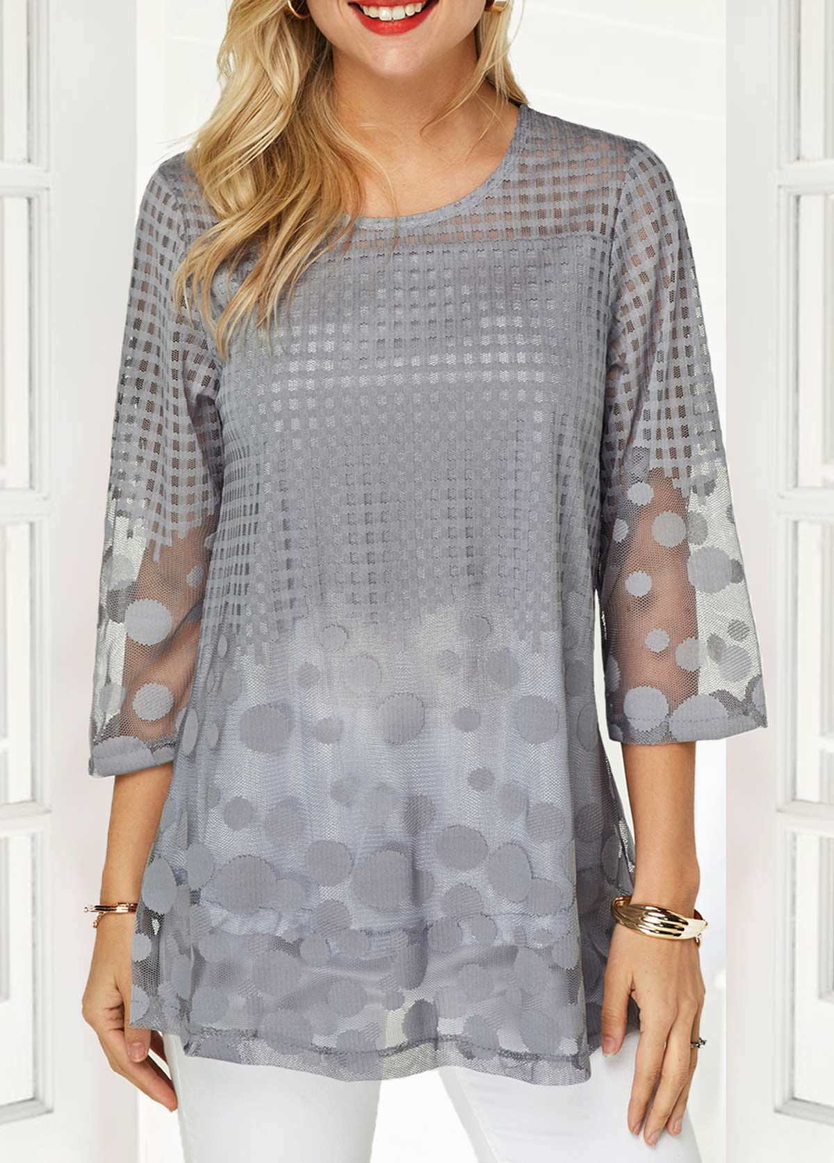 Three Quarter Sleeve Keyhole Back Faux Two Piece Blouse