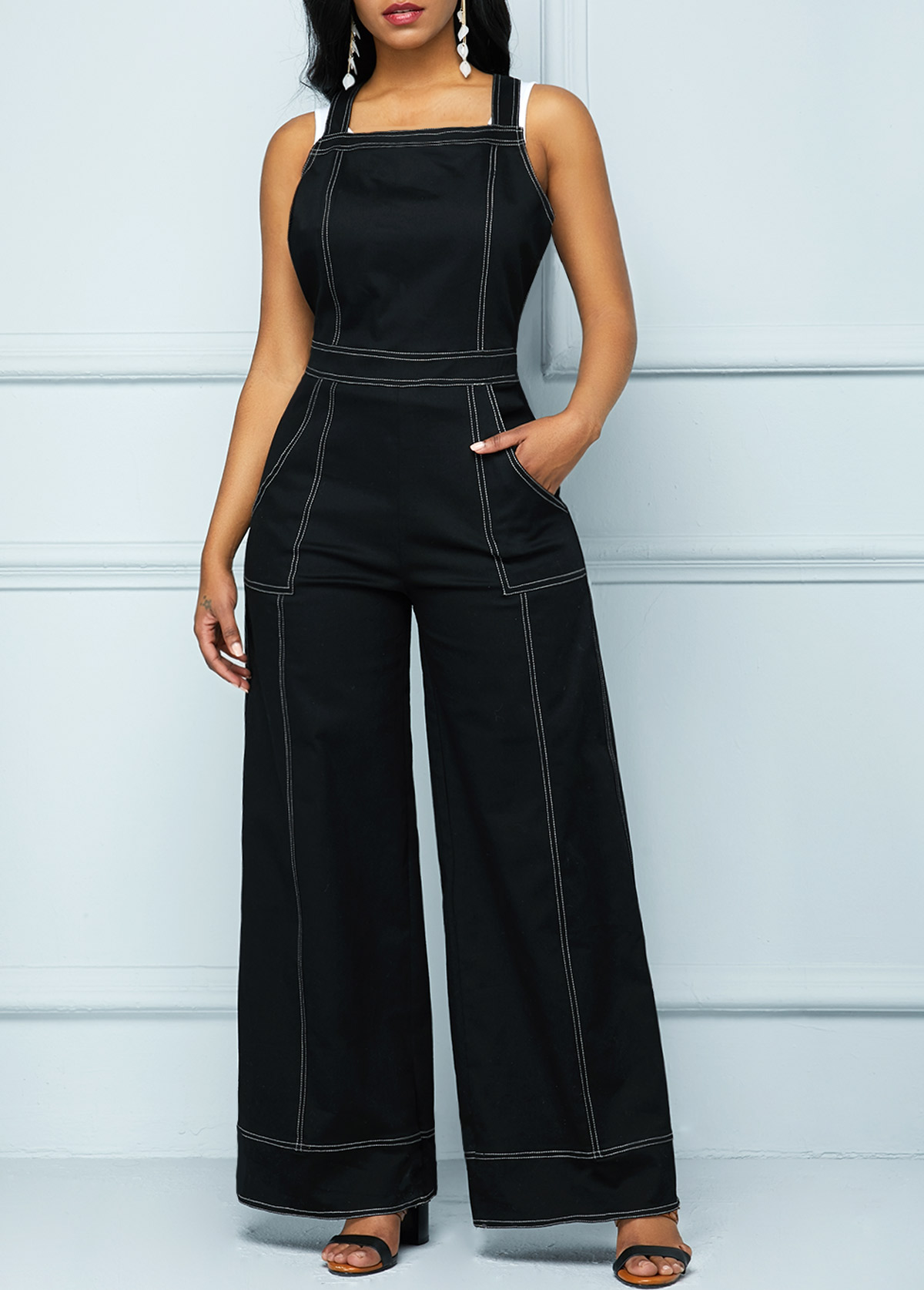 Contrast Stitch Slant Pocket Wide Leg Overalls