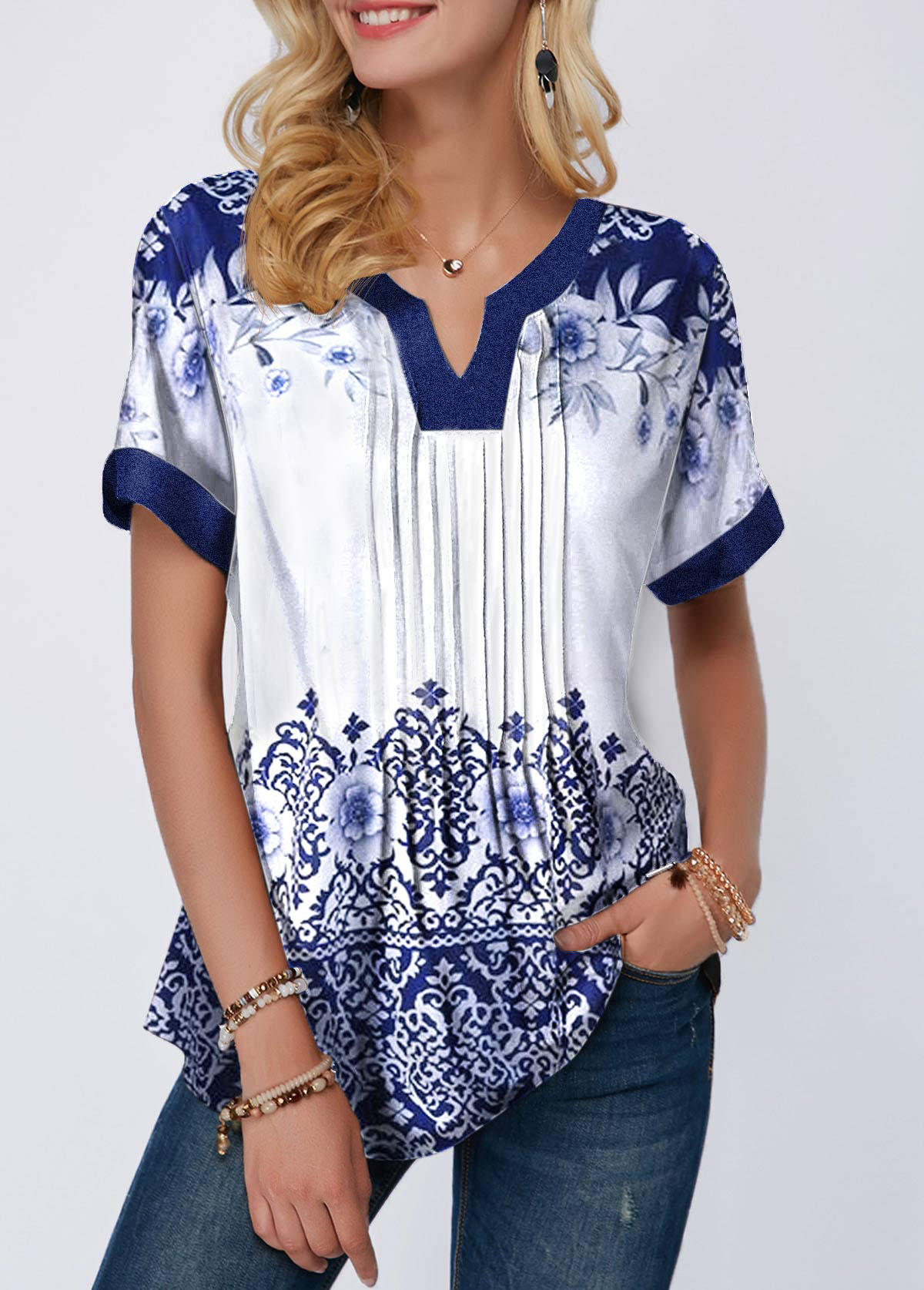 Split Neck Retro Print Pleated Blouse