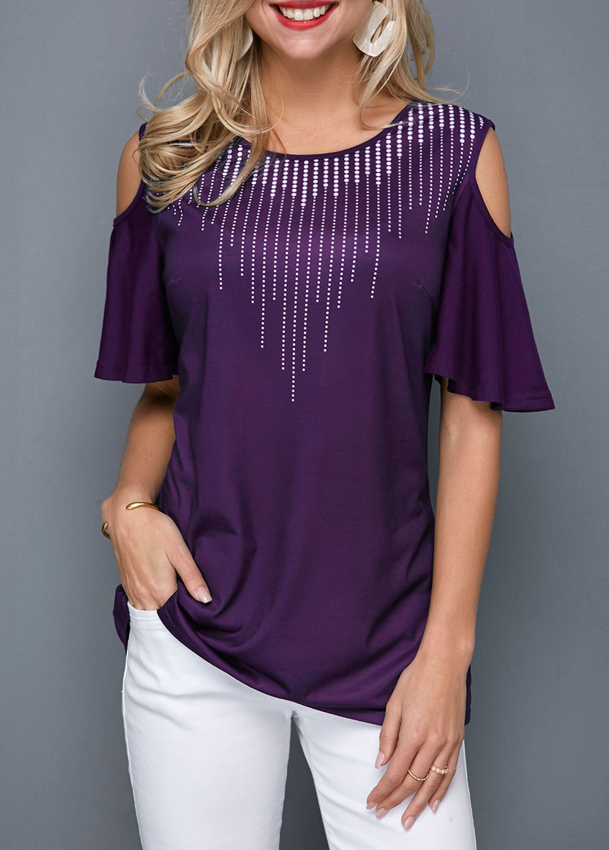 Half Sleeve Cold Shoulder Round Neck T Shirt