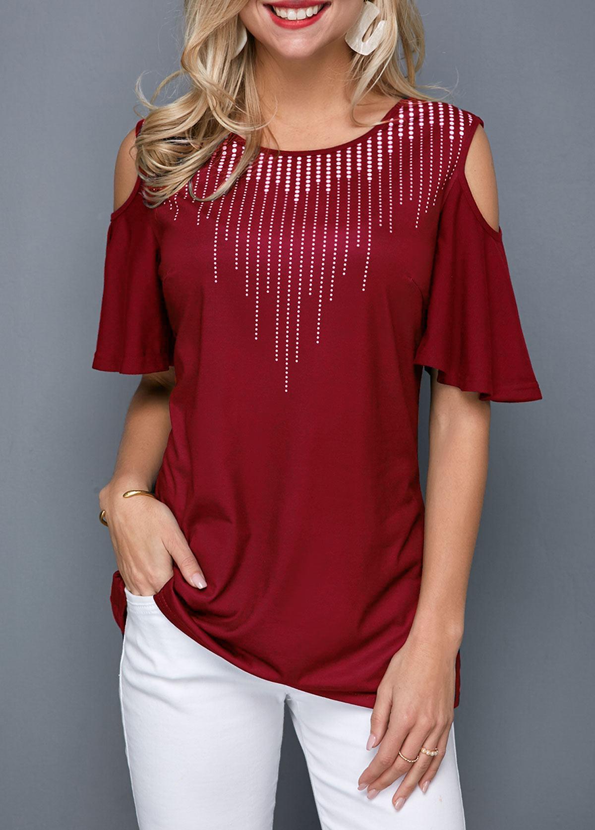 Cold Shoulder Half Sleeve Round Neck T Shirt