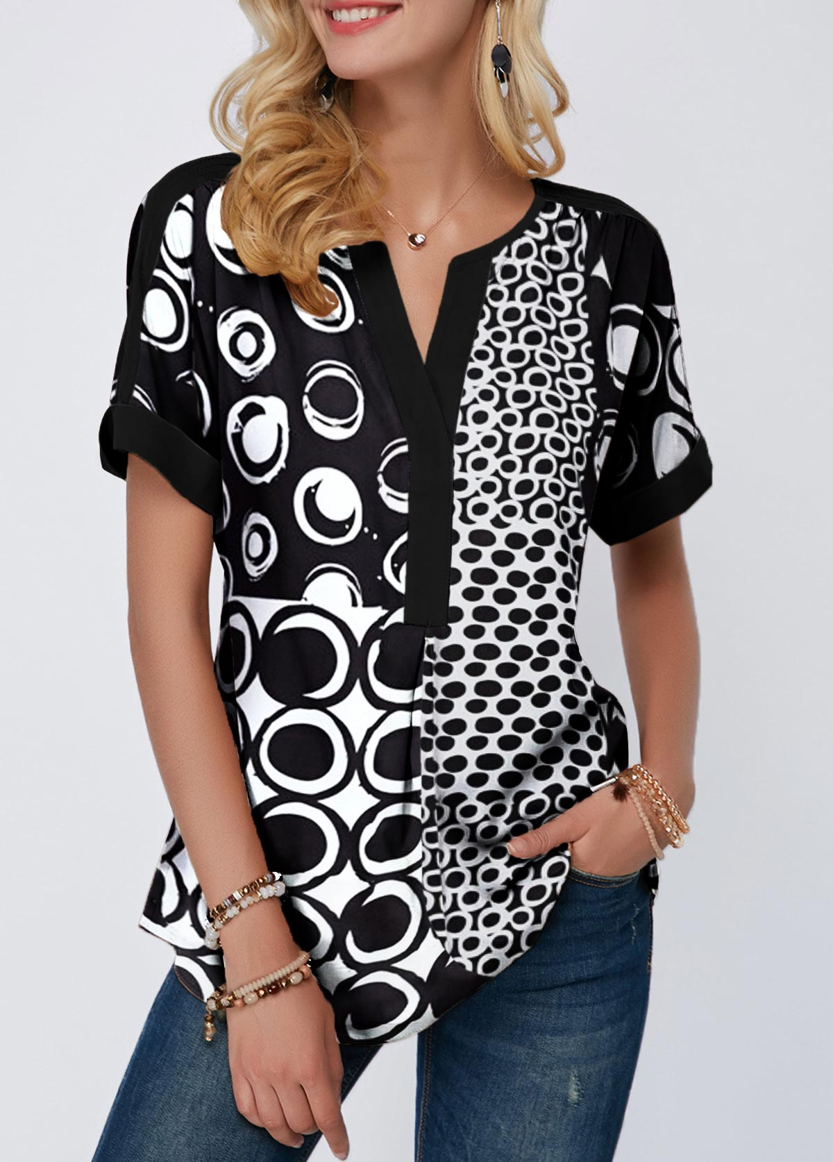 Split Neck Roll Cuff Short Sleeve Blouse