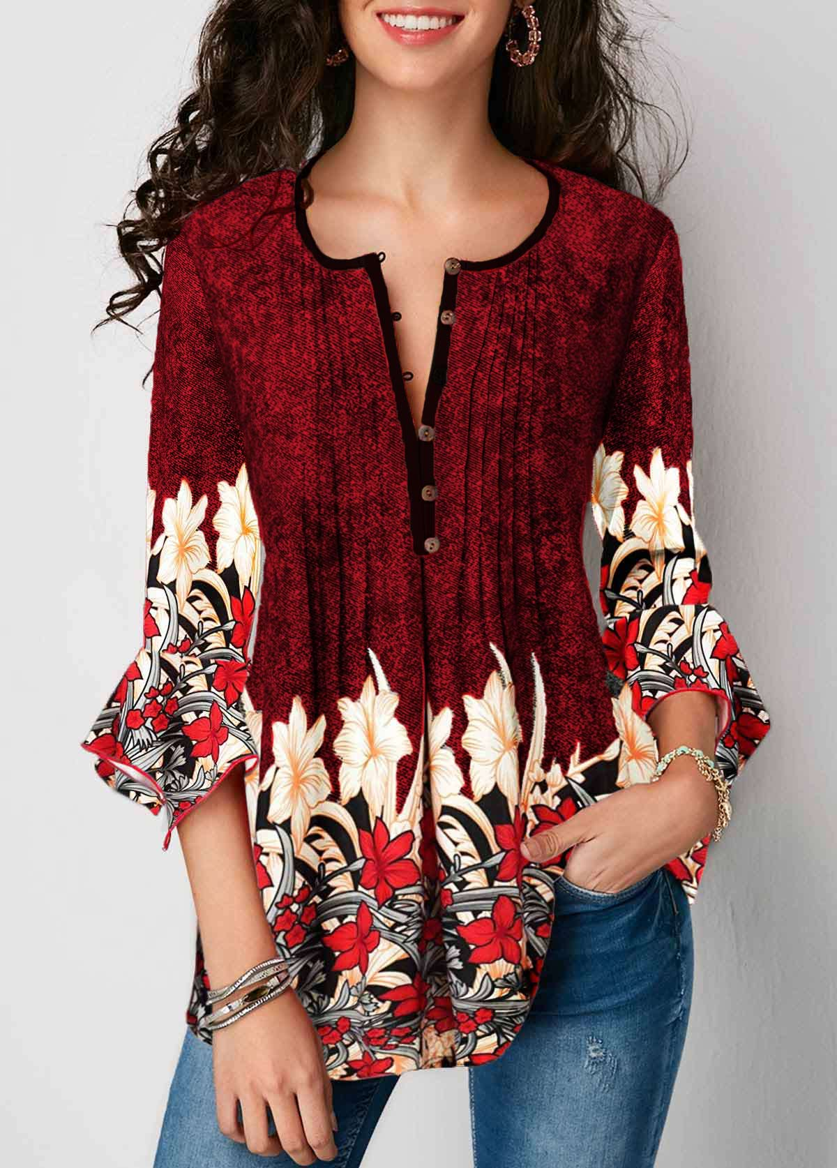 Red Split Neck Printed Flare Sleeve Blouse