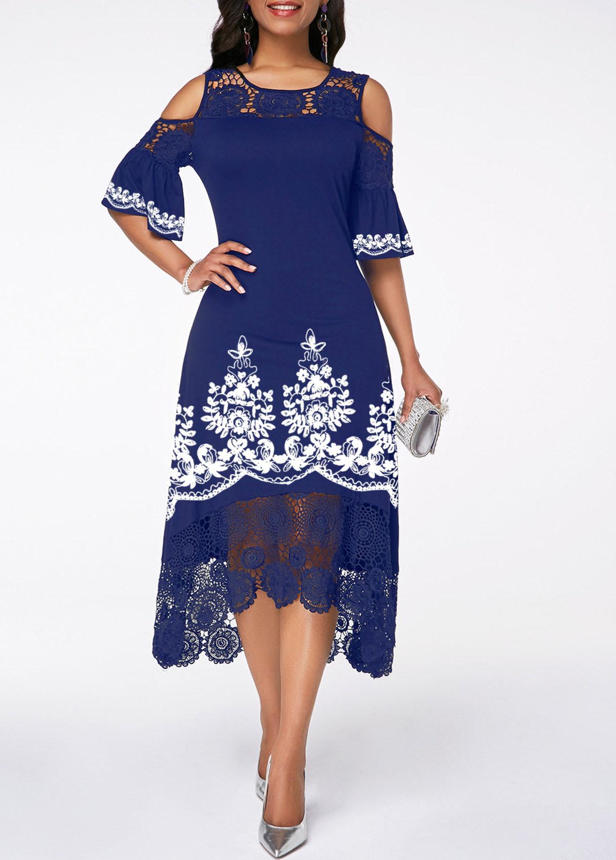Crochet Detail Cold Shoulder Tribal Print Dress