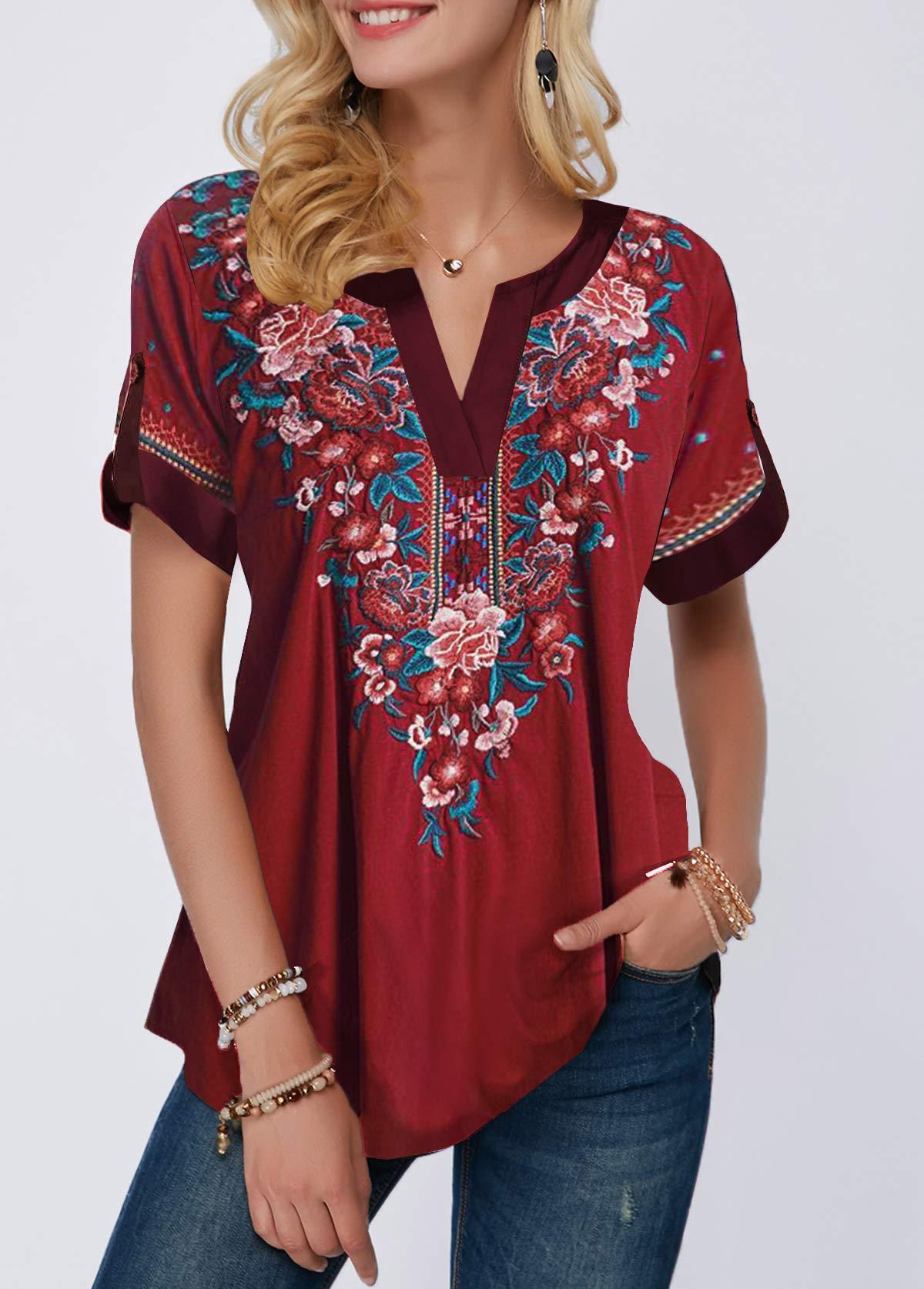Short Sleeve Ethnic Flower Print T Shirt