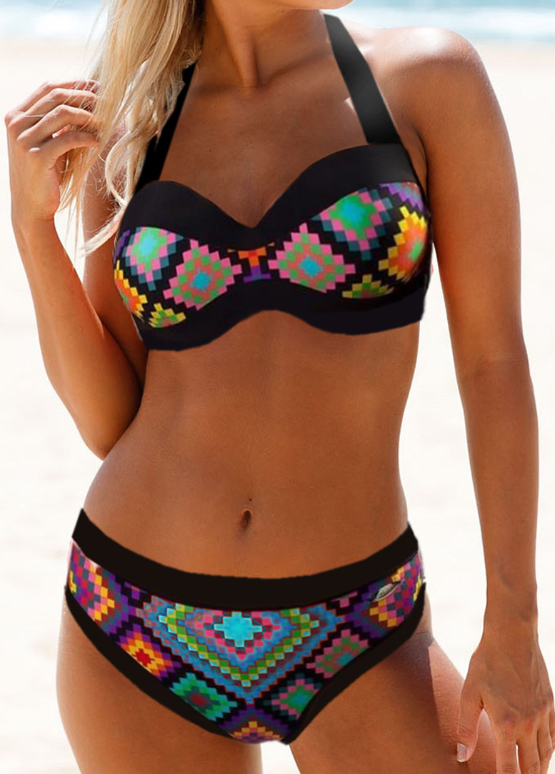 Geometric Print Cutout Back Bikini Set