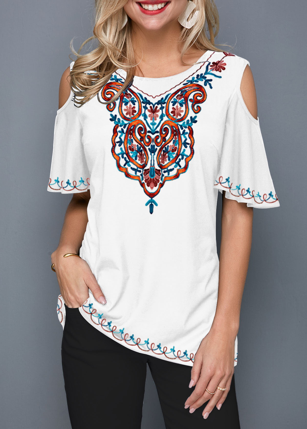 Cold Shoulder Tribal Print T Shirt
